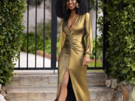 Gold Ruched Maxi Dress